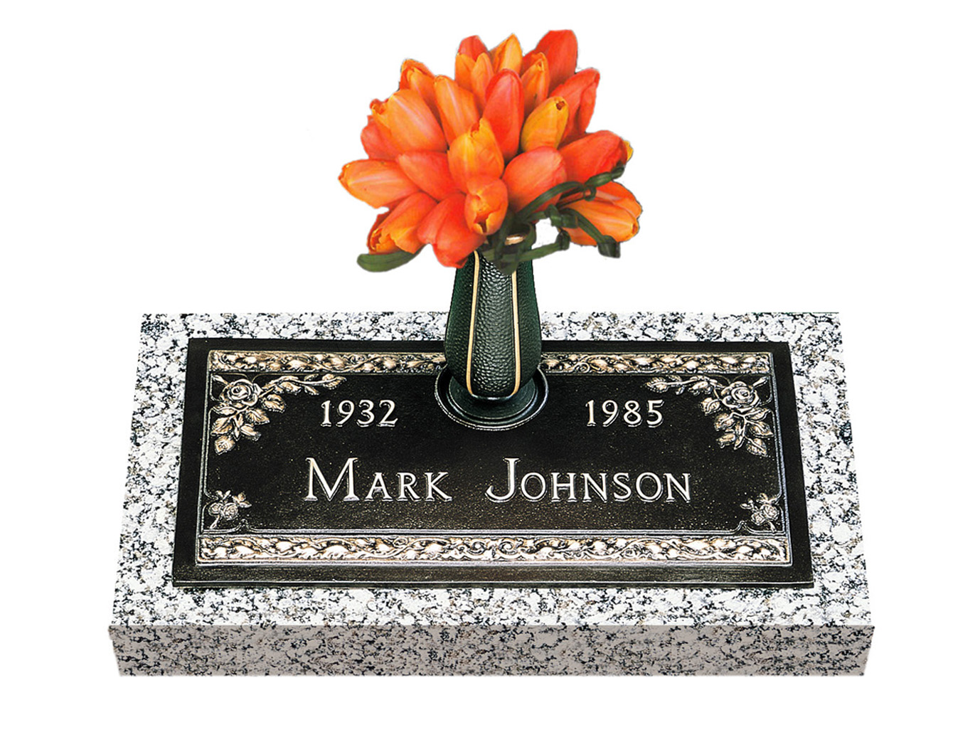 Abbey rose single bronze grave marker with vase lovemarkers single bronze cemetery marker reviewsmspy