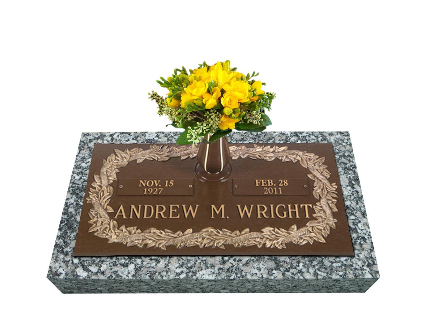 Hawaiian ilima lei single bronze grave marker with vase single bronze cemetery marker reviewsmspy