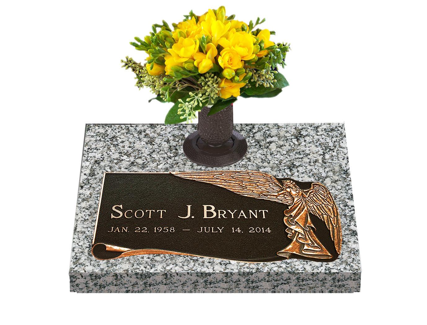 Majestic grace single bronze grave marker with vase lovemarkers single bronze cemetery marker reviewsmspy