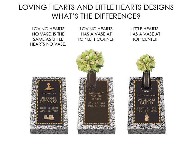 Loving Hearts Bronze Cemetery Grave Marker With Vase Lovemarkers