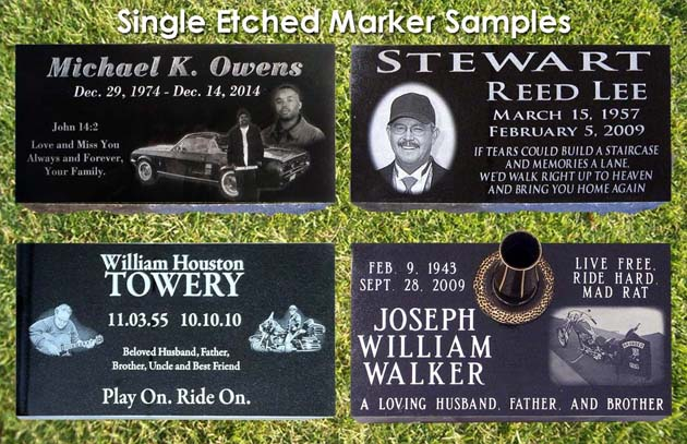 custom laser etched granite cemetery marker portrait picture